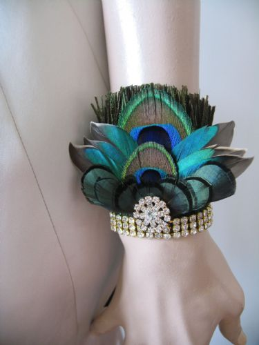 "Black Green Wrist Corsage Wristlet Bracelet Cuff in Peacock Feathers Crystals ""Kath"" Art Deco"